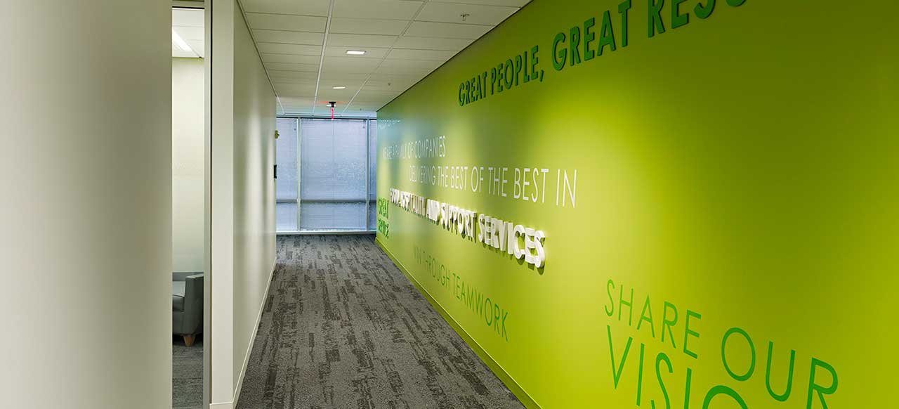 Compass Group Global Headquarters Charlotte, NC Main Hallway Green