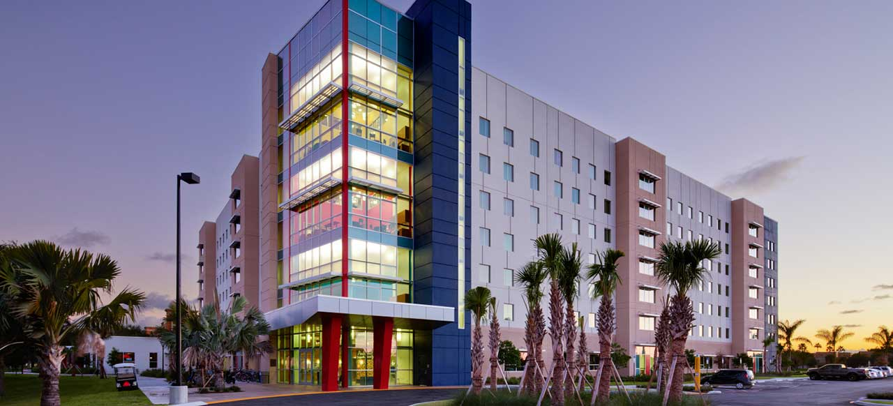 Florida Atlantic University (FAU) Parliament Hall Boca Raton Exterior Building Night
